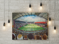 tynecastle park on matchday canvas a3 size